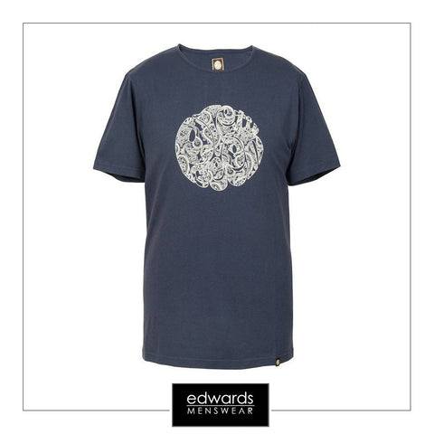 Pretty Green Printed Linear Logo Tee in Navy
