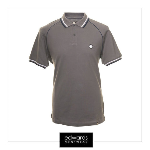 Pretty Green Fairview Raglan Charcoal Grey Polo