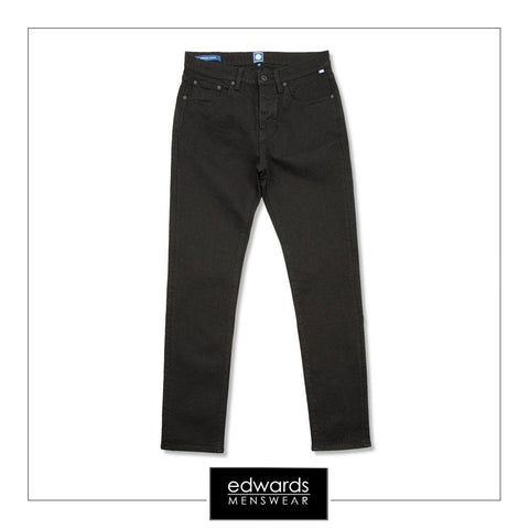 Pretty Green Erwood Slim Fit Jeans in Black Rinse
