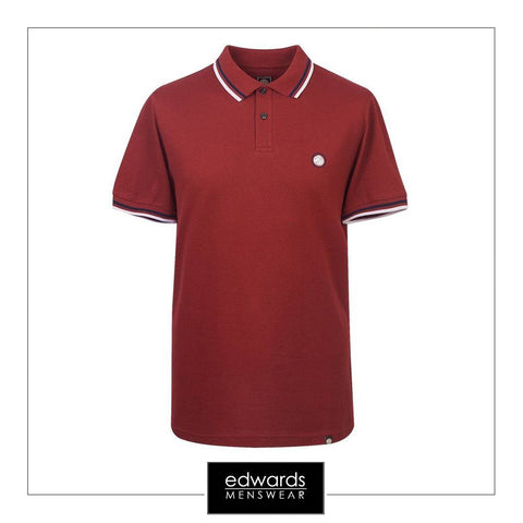 Pretty Green SS Polo In Dark Red