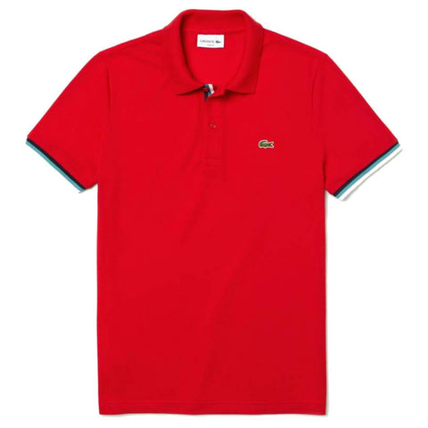 Lacoste PH4220-240 Slim Fit Piped Sleeves Petit Piqué Polo Shirt in Red Polo Shirts Lacoste