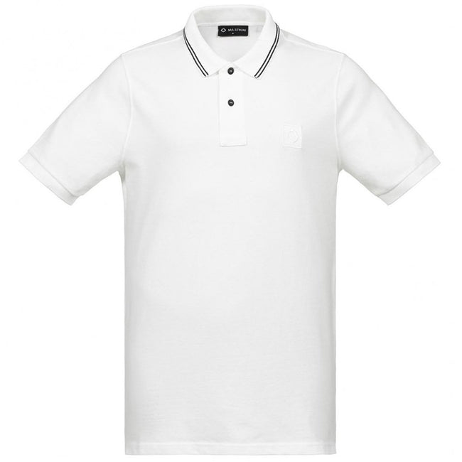 MA.STRUM Pique Icon Tipped Polo Shirt in Optic White