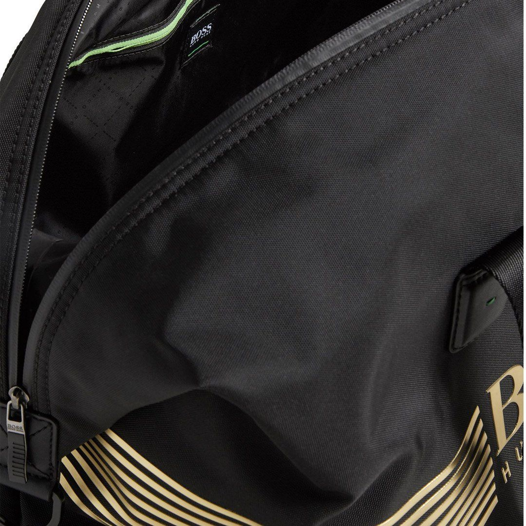 BOSS Athleisure Pixel Holdall Bag in Black / Gold