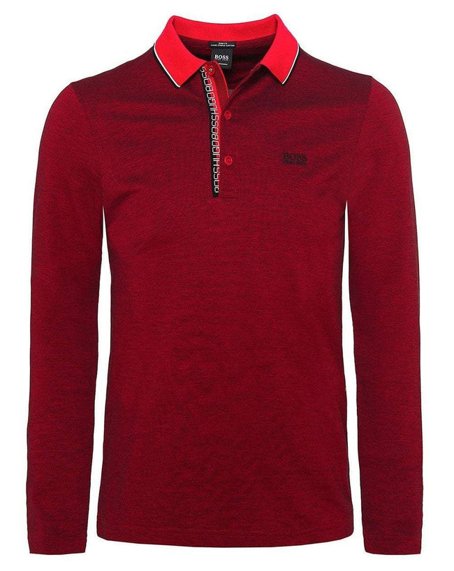 BOSS Pleesy-4 Long Sleeve Polo Shirt in Red / Black
