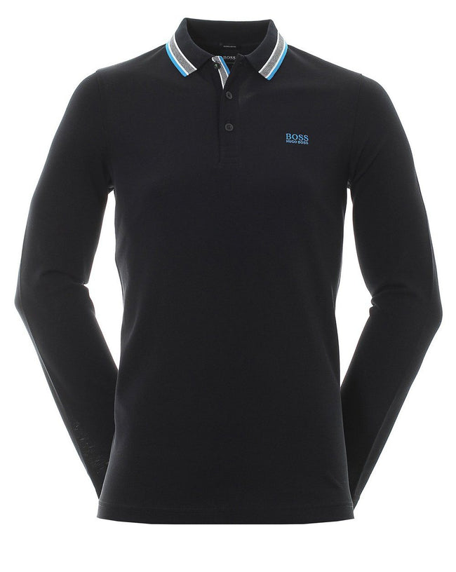 BOSS Athleisure Plisy Long Sleeve Polo Shirt in Black