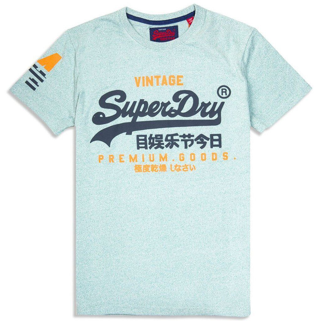 Superdry Premium Goods Duo Tee in Light Haze Green Grit