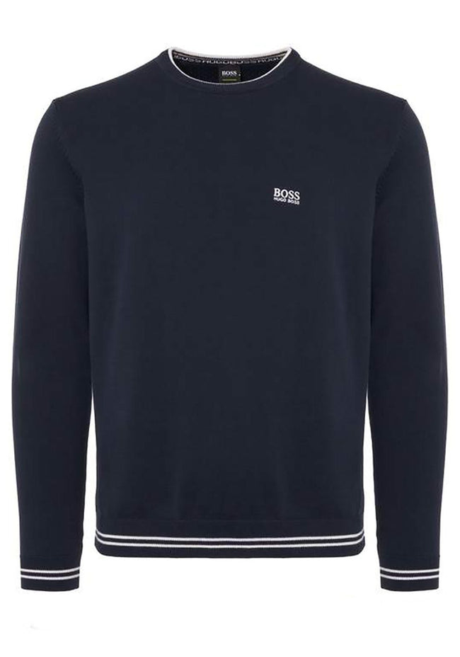 BOSS Rime Crew Neck Jumper in Navy