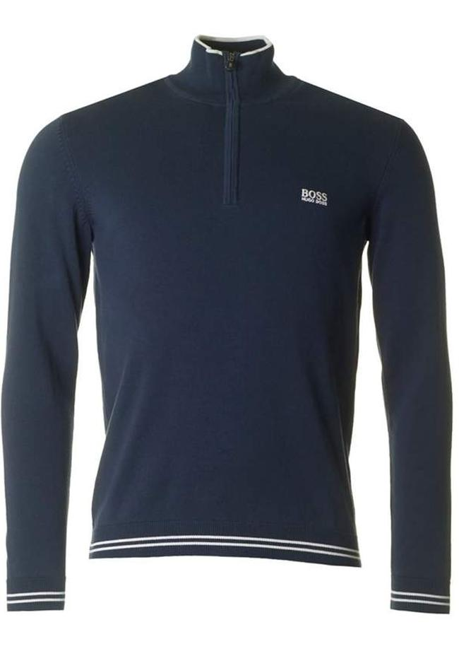 BOSS Zime_S18 Quarter Zip Funnel Neck Jumper in Navy