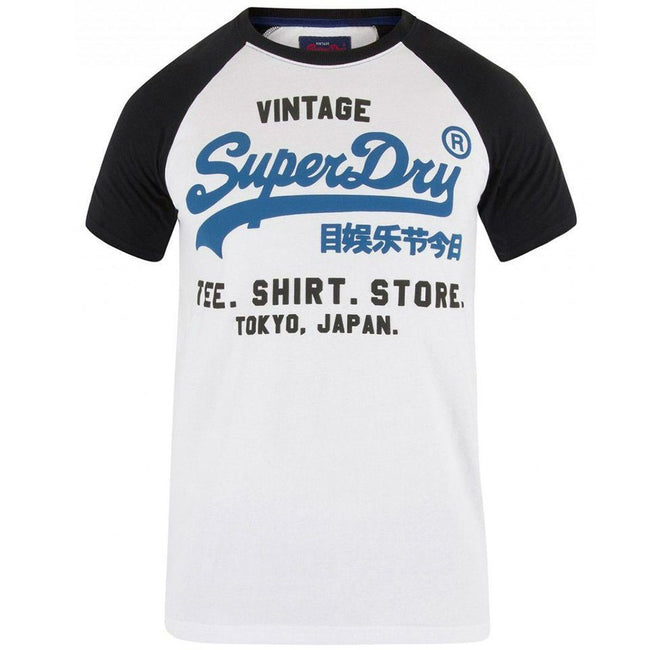 Superdry Shirt Shop Duo Raglan Tee in Optic / Blue T-Shirts Superdry