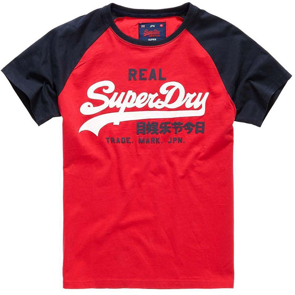 Superdry Shirt Shop Due Raglan Tee in Red / Blue