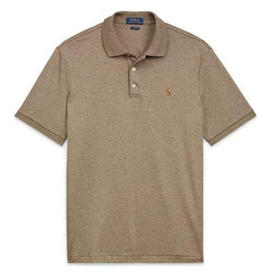 Ralph Lauren Slim Fit Cotton Interlock Polo Shirt in Partridge Heather