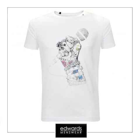 Replay T-Shirt with Microphone in Hand in White