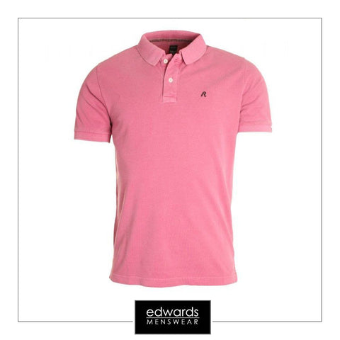 Replay Garment Dyed Pique Polo Shirt in Lilac