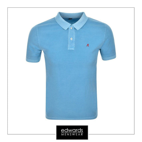 Replay Enzyme Wash Polo Shirt in Azure Blue