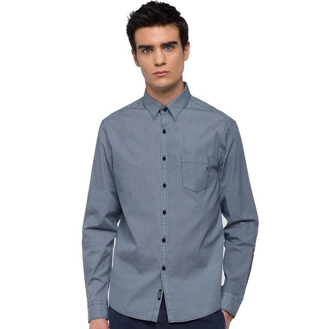 Replay Poplin Triangles Print Shirt in Blue Shirts Replay