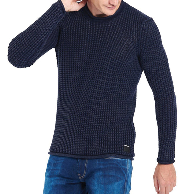 Replay Cotton Waffle Knit Jumper in Navy