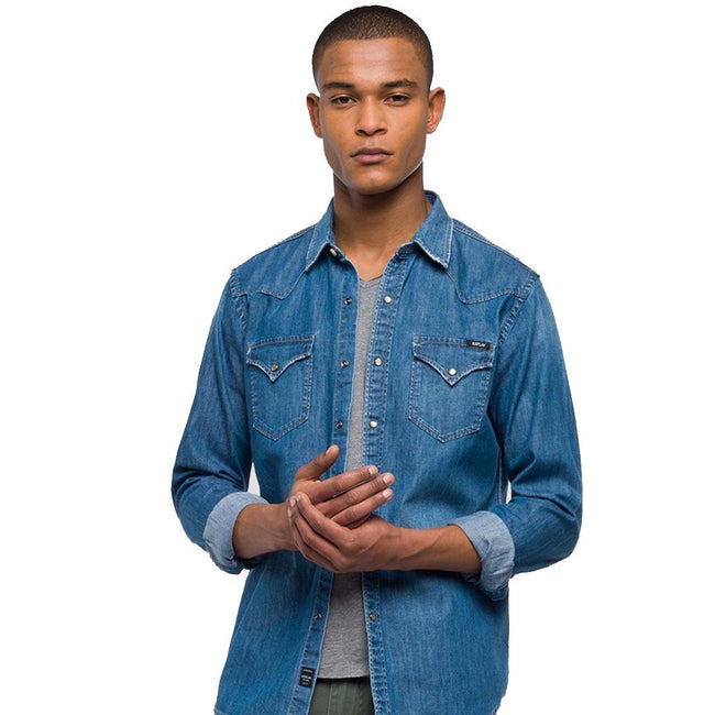 Replay Denim Shirt Used Look in Medium Blue
