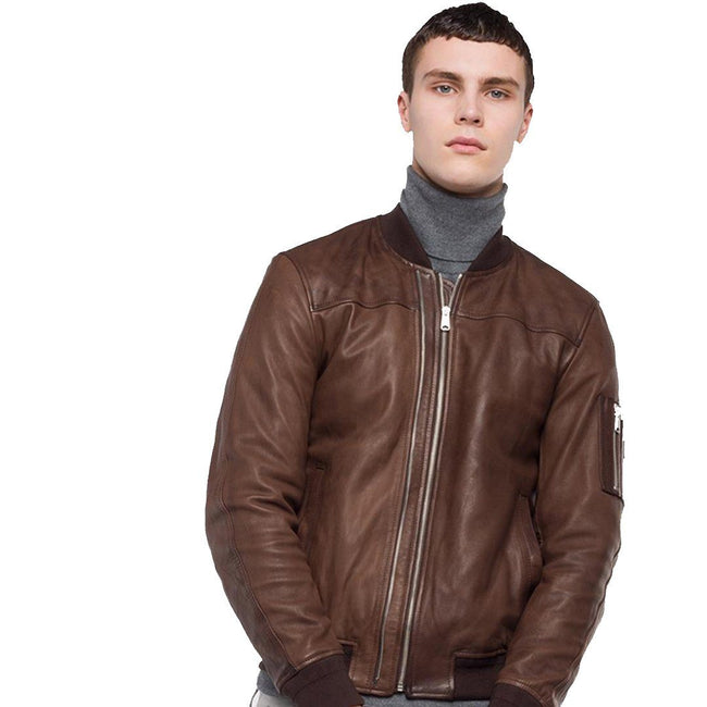 Replay Padded Crust Leather Bomber Jacket in Brown Coats & Jackets Replay