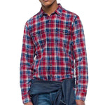 Replay Check Shirt in Red/Navy Shirts Replay