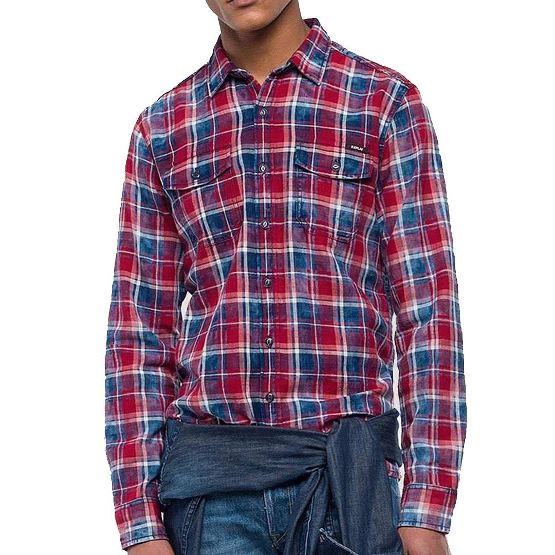 Replay Check Shirt in Red/Navy