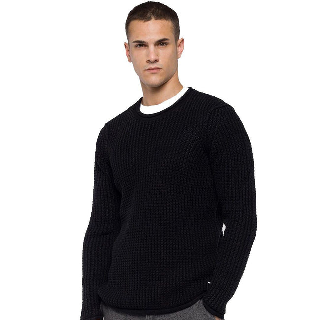 Replay Cotton Waffle Knit Jumper in Black