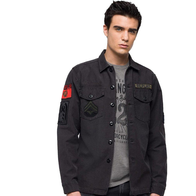 Replay Army Patch Jackets in Nearly Black