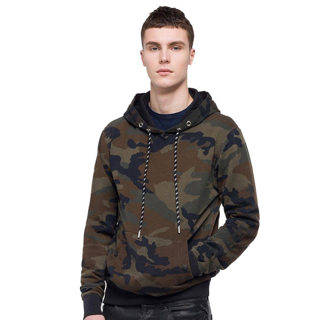 Replay Hoodie With Pouch Pocket in Camoflage Green/ Brown/ Black