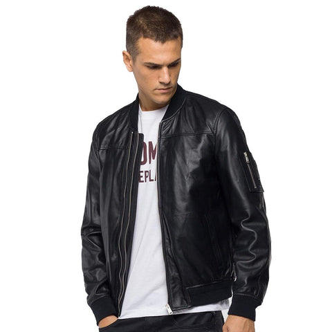Replay Padded Crust Leather Bomber Jacket in Black Coats & Jackets Replay