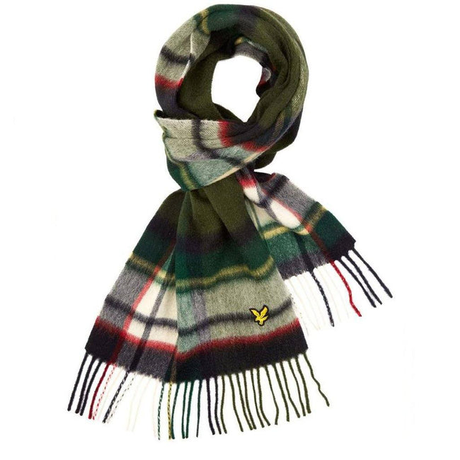 Lyle & Scott Tartan Scarf in Navy / Tomato Red