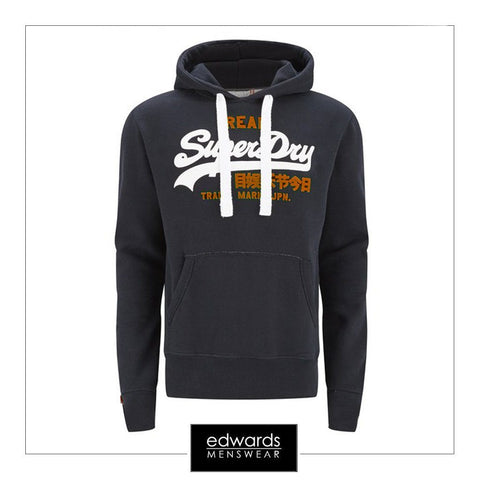 Mens Superdry Vintage Logo Duo Entry Hood in Eclipse Navy