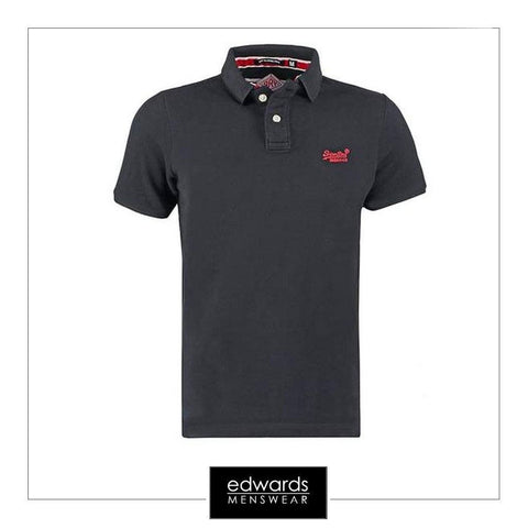 Mens Superdry Classic Pique Polo in Black
