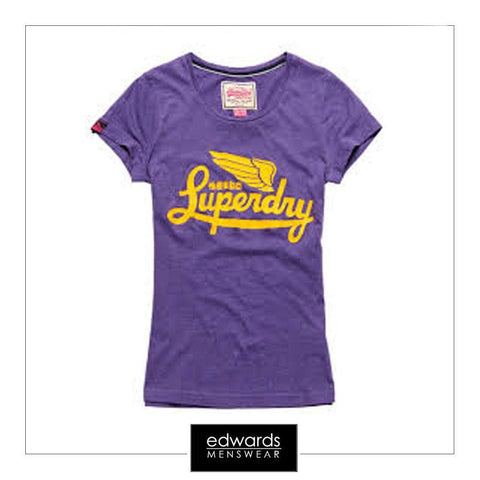 Ladies Superdry Icarus Entry Tee in Polo Purple Marl