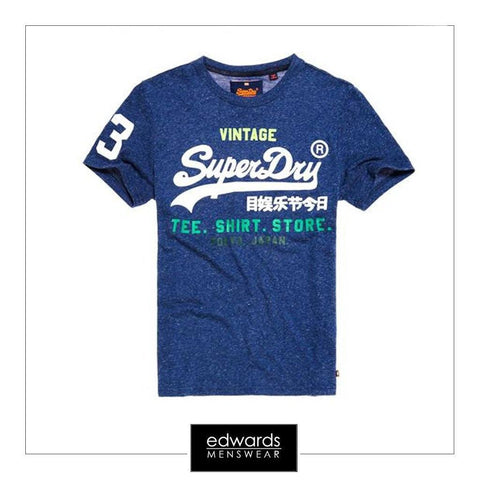 Mens Superdry Shirt Shop Tee in French Navy Snowy