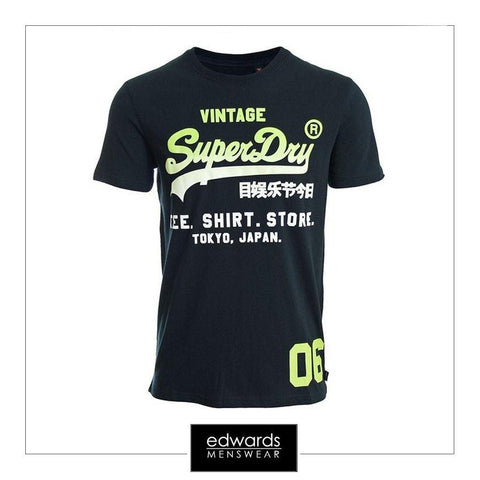 Mens Superdry Shirt Shop Fade Tee in Eclipse Navy