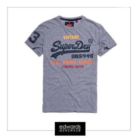 Mens Superdry Shirt Shop Tee in Blue Snow