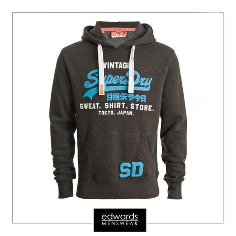 Mens Superdry Sweatshirt Store Hood in Graphite Black Marl