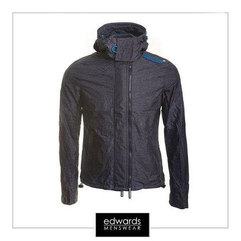 Ladies Superdry Tech Hooded Pop Zip Windcheater in Navy Marl/Denby Blue