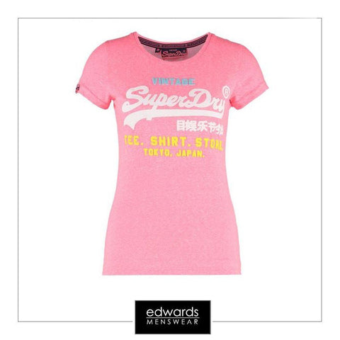 Ladies Superdry Shirt Shop Tri Tee in Bubblegum Snowy Pink