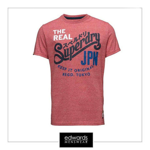 Mens Superdry Keep It Tri Colour Tee in Grit Tag Red