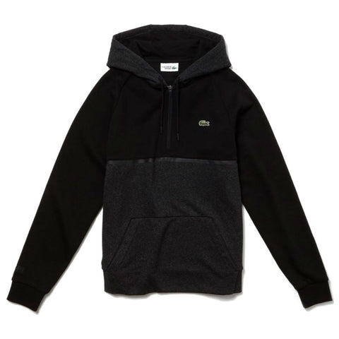 Lacoste Sport SH3508-7GP Quarter Zip Hoodie in Black / Grey Hoodies Lacoste