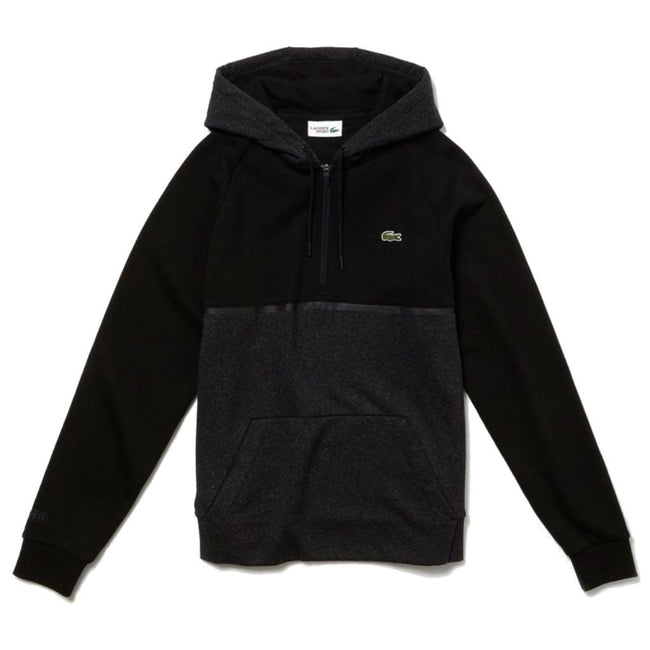 Lacoste Sport SH3508-7GP Quarter Zip Hoodie in Black / Grey