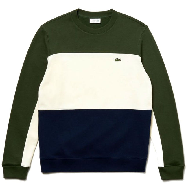 Lacoste SH4371-9MH Colourblock Pique Sweatshirt in Green / White / Navy