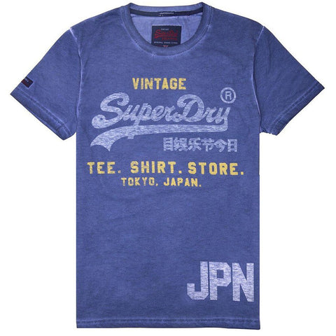 Superdry Shirt Shop Duo Overlay Lite T-Shirt in Blue Print T-Shirts Superdry