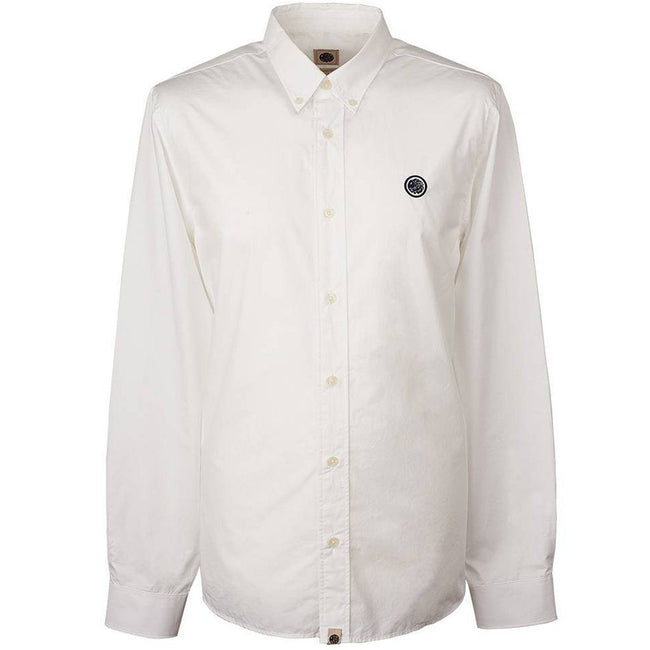 Pretty Green Slim Fit Badge Shirt in White