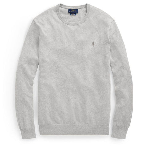 Ralph Lauren Slim Fit Cotton Sweater in Grey Heather Ralph Lauren