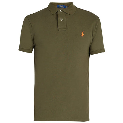 Ralph Lauren Slim Fit Mesh Polo in Green Polo Shirts Ralph Lauren