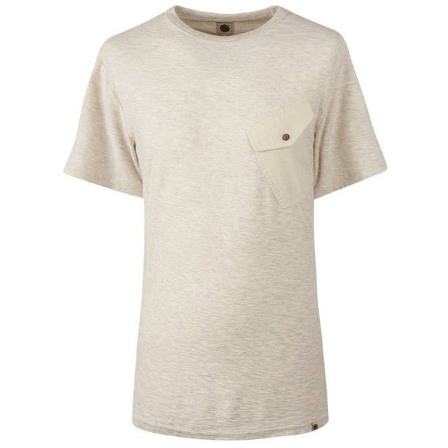 Pretty Green Slub Marl Twill Pocket T-Shirt in Stone