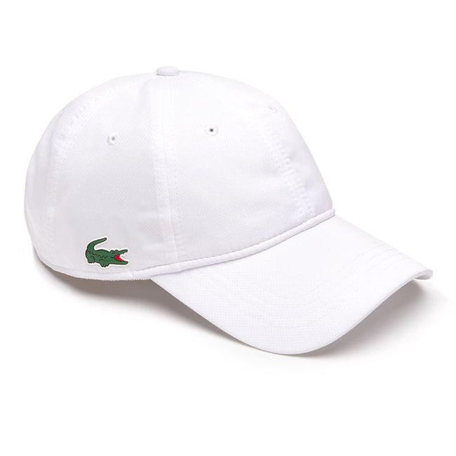 Lacoste RK2447-001 Sport Cap in Solid Diamond Weave Taffeta in White