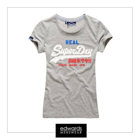 Ladies Superdry Tri Colour Tee in Grey Marl