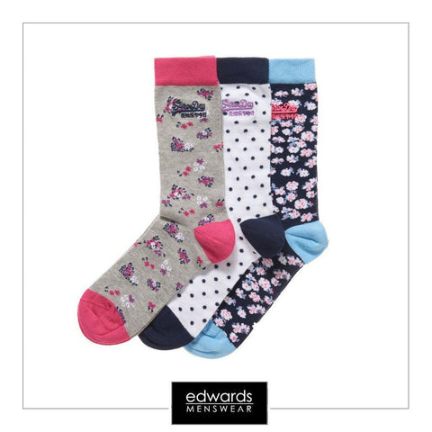 Ladies Superdry Triple Pack Ditsy Floral Socks in Grey/Navy/White